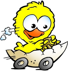Hand-drawn of an cute baby chicken driving in a vector image vector image