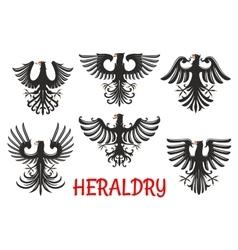 Heraldic black eagles with raised wings vector image vector image