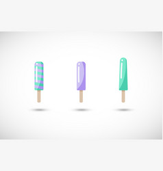 popsicle flat icons set vector image