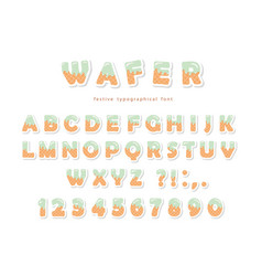 wafer font cute sweet letters and numbers can be vector image