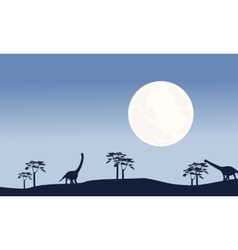 At night argentinosaurus scenery silhouettes vector image vector image