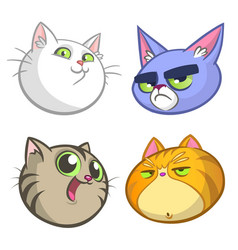 cartoon set of colorful cats icons vector image