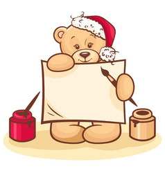 christmas teddy with sign vector image vector image