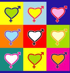 gender signs in heart shape pop-art style vector image vector image