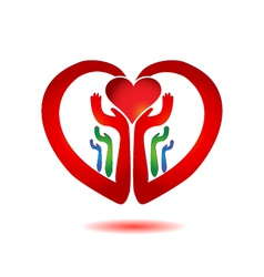 Hands holding a heart icon vector image