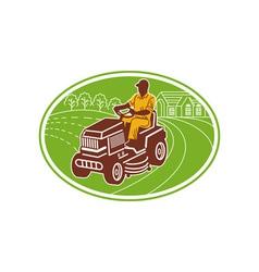 male gardener riding lawn mower vector image vector image