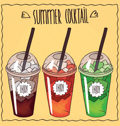 summer cocktails set in transparent plastic cup vector image vector image