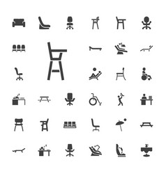 33 chair icons vector