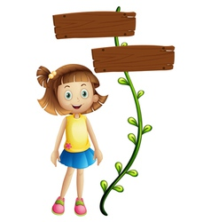 A girl at back a two-plank signboard vector