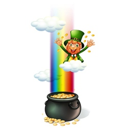 A man throwing coins and a pot full of coins vector image