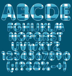 alphabet letters numbers signs from blue felt vector image