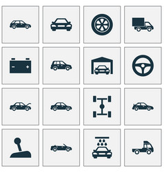 Auto icons set collection of transport cleaning vector
