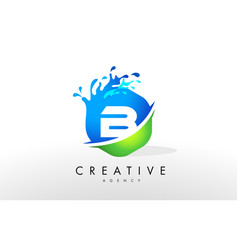 b letter logo blue green splash design vector image
