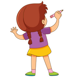 Back of girl writing on wall vector