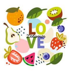 background with fruit and text love vector image