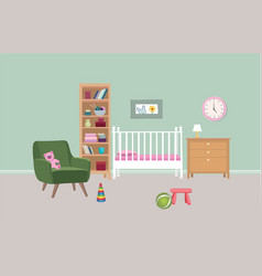 bedroom interior background baby bed-room colored vector image