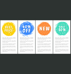 Best price 40 off new sale half price set labels vector