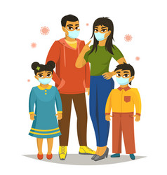 Big family wearing surgical mask vector