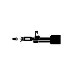 Black icon on white background machine gun bullet vector