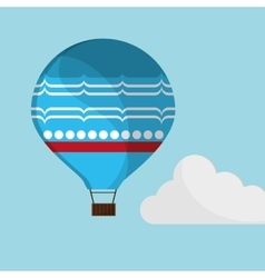 Blue airballoon flying sky cloud with shadow vector