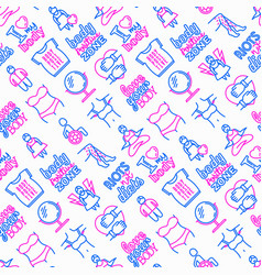 Body positive seamless pattern with thin line vector