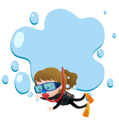 Border template with girl scuba diving vector