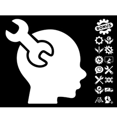 Brain Service Wrench Icon with Tools Bonus vector