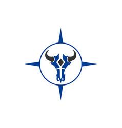 bull skull compass logo icon vector image