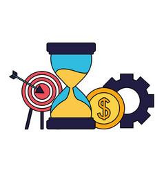 Business target hourglass coin gear vector