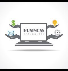 Business technology concept with laptop vector