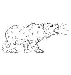 cartoon drawing of roaring bear as falling market vector image