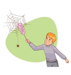 Cartoon man tries to remove spider net vector image