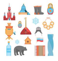 cartoon russian traditional items icon set vector image