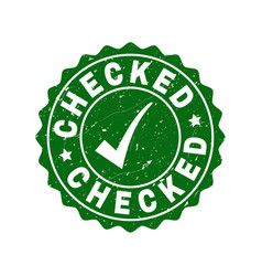 Checked scratched stamp with tick vector