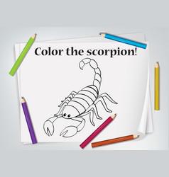 Children scorpion coloring worksheet vector