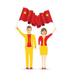china flag waving man and woman vector image