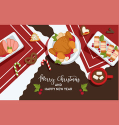 Christmas delicious traditional food on a table vector