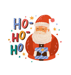 christmas greeting card with santa claus holding vector image