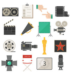 cinema symbols icons set vector image