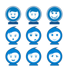 circle smile face character set logo concept vector image