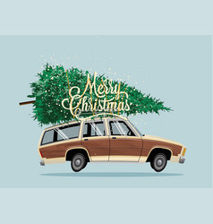 classic vintage cartoon family car with christmas vector image