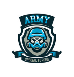 Colorful emblem logo military skull in helmet vector