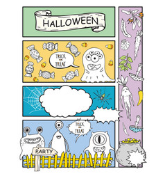 Comic book with monsters halloween background vector