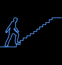 Continuous line human on ladder neon concept vector