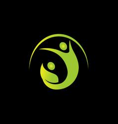 creative green leaf kid logo design vector image