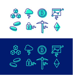 crypto blockchain icon set cryptocurrency bitcoin vector image