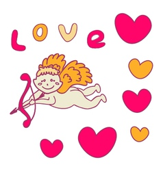 Cupid with bow and arrow for valentines day vector