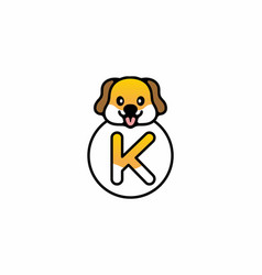 Cute dog head with k initial letter vector