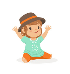 cute little girl dressed in casual clothes and vector image vector image