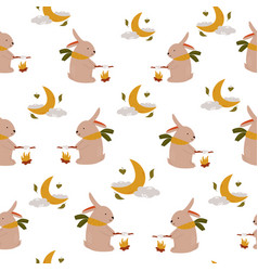cute seamless pattern with funny rabbits vector image